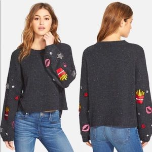 Wildfox French Fries & Kisses Embellished Sweater